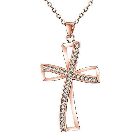 Bodya Oxyde de Zirconium double en filigrane Pendentif en forme de croix chrétienne religieuse Bijoux Chaîne de 50,8cm Doré - rose gold