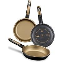 BRA - Set de 3 sartene, aluminio fundido, aptas para todo tipo de cocinas, incluido inducción, Terra s 18-22-26 cm