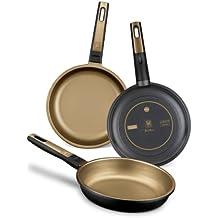 BRA Terra - Set de 3 sartenes, 18-22-26 cm, aluminio fundido, aptas para todo tipo de cocinas incluido inducción