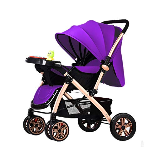 Bébé Guo Poussette Léger Pliant Chariot 0/1-3 Ans Simple Portable Musique Chariot Enfant avec Assiette (Couleur : Purple)