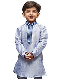 JBN Creation Boys' Cotton Silk Regular Kurta (Bluish White_VASBKHA012)