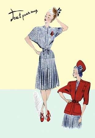 Feelingathome-Leinwand-Bild-Plissee-Seemann-Kleid-mit-Jacke,-1947-cm50x33-Kunstdruck-auf-Leinwand