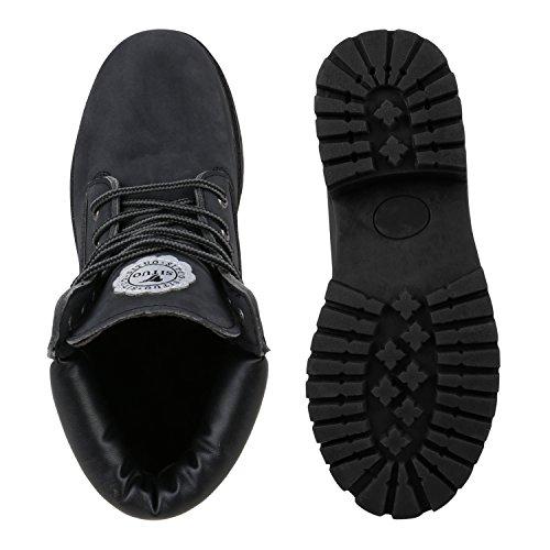 Worker Boots Damen Outdoor Stiefeletten Profil Sohle Lederoptik Schwarz