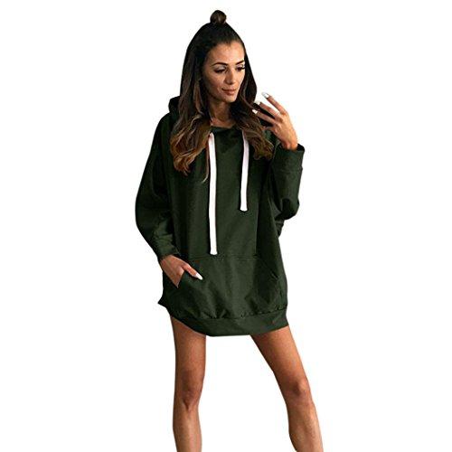 Damen Lange Mäntel Sunday Frauen Langarm Hoodie Sweatshirt Lässige Abendgesellschaft Mini-Kleid (XL, Armeegrün) Xl Hund Sweatshirts