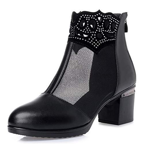 Elegant Comfort Soft Summer Shoes Woman Sandals Large Size Mesh Cool Boots Square Heel Rhinestone Fashion Sandals Women Shoes Black 011 9