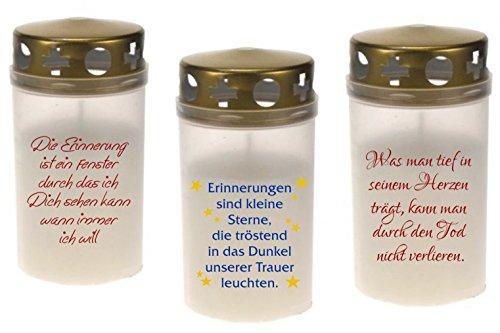 Grabkerzen 3er Set versch. Motiv Grablicht Grableuchte Kerze Friedhofskerzen (3 Motive) (GK-M7)