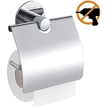 WC-Rollenhalter 13 x 11.5 x 14 cm Edelstahl rostfrei Gl/änzend WENKO 22696100 Vacuum-Loc Toilettenpapierhalter Cover Quadro
