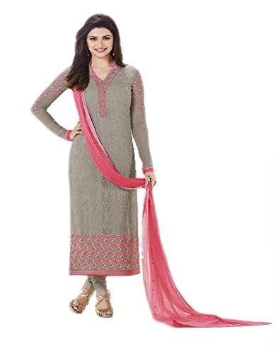 VinayTM Party Wear Formal Wear Suit Embroidered Georgette Navy Semistitched Salwar Kameez Dupatta