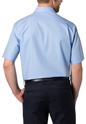 ETERNA Kurzarm Hemd COMFORT FIT Popeline unifarben Mittelblau