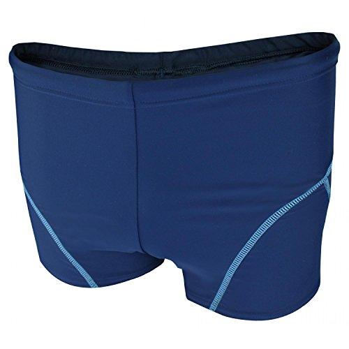 Aquarti Jungen Badehose Schwimmhose kontrastfarbene Nähte, Farbe: Dunkelblau / Blau, Größe: 122