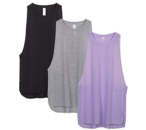 icyZone Yoga Tops Workout Oberteile Sports Locker Racerback Tank Top für Damen (Black/Grey/Lavender, M) (Crew T-shirt Performance)