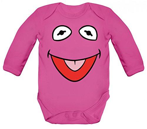 ShirtStreet Fasching Karneval Verkleidung Strampler Bio Baumwoll Baby Body langarm Longsleeve Frosch Kostüm, Größe: 12-18 (Kermit Der Frosch Kostüm Baby)