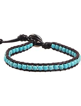 KELITCH Dezember Monatsstein Türkis Perlen Leder Armbänder Unisex