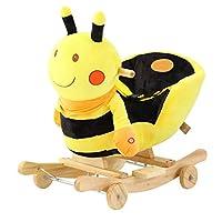 TGETBTTSR Rocking Horse Child Yellow Bee Rocker with Wheels, Child Rocking Horse Toy, Stuffed Animal Rocker Toy for Kid 1-3 Years,Rocker/Animal Ride on/Rocking Toy Rocking Chair