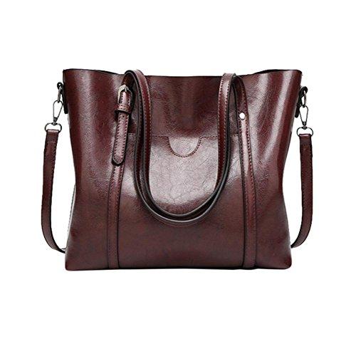 Große Handtasche HARRYSTORE Fashion Damen Umhängetasche Schultertasche Tote Bucket Bag Messenger Bag (Kaffee) (Tote Bucket Fashion)