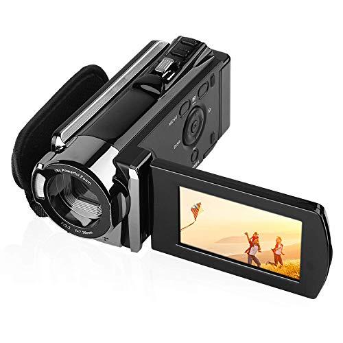 "PowerLead Wiederaufladbare HD Digitalkamera Videokamera Digitalkameras Camcorder 1080P Full HD 24MP 16X Digitale Zoom Kamera DV Tragbare Kamera mit 2,7""TFT LCD 270 Grad drehbarer Bildschirm, Schwarz"