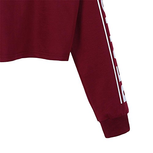 Sweat Femme Fille Lettre DImpression Lâche Pull Femmes Mode Blanc Lettre Imprimé Crop Sweatshirt Top Blouse vin rouge