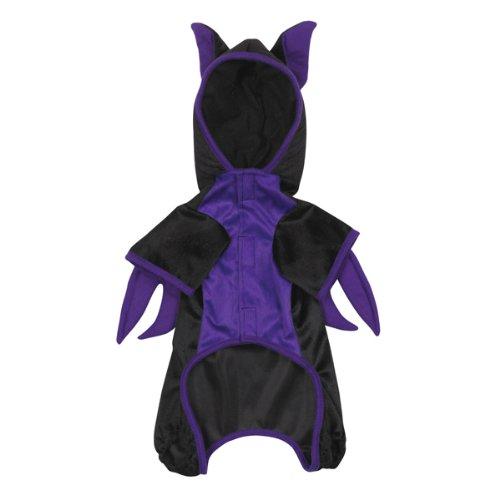 Casual Flieder und schwarz mit Kapuze Flying bat Halloween Dog Kostüm mit großen Flügeln