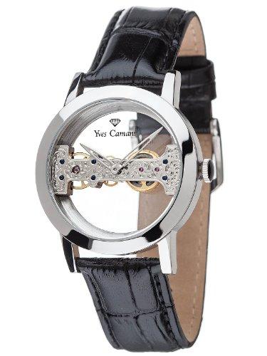 Yves Camani YC1049-C - Reloj para hombres, correa de cuero color negro