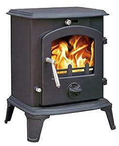 """Lincsfire Ingham JA061 Luxury 5.5KW Type B Multifuel Woodburning Stove Wood Burner Log Burning Fire Fireplace Cast Iron Woodburner + One Free 5"""" Flue Pipe"""