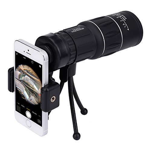 16x 52Dual Focus-Monokular Teleskop-Stativ, wasserdicht, Sicht auf die Spektive HD mit BaK4Prisma, mit, mit Riemen, Universal-Handy-Adapter für die Jagd, Camping Reisen und Natur Landschaften