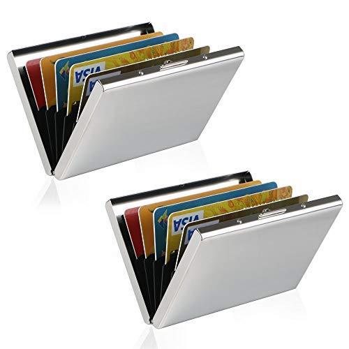 RFID Blocking Kreditkartenhülle Kreditkartenetui, URAQT Credit Card Holder Kreditkartenetui, Ausweihülle, Edelstahl RFID Blocking Wallet Credit Card Holder für Damen und Herren, 2 Stück