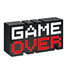 Paladone 8-Bit Pixel Game Over Light, Color Changing Sound Reactive Collectible Decor Lamp, White and Black, 7 x 3 x 16 cm