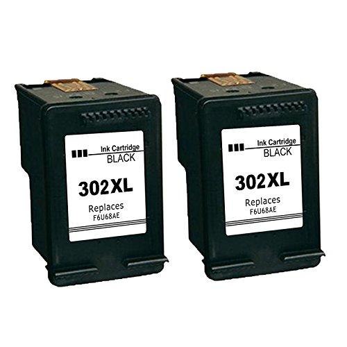 Kyansin 2XL 302XL Cartuchos de Tinta remanufacturados HP 302 XL Cartuchos de Alta Capacidad 302 tintas 2 (2 Negros) Compatible con HP DeskJet 1110 2130 3630, HP Envy 4520 4524 4527
