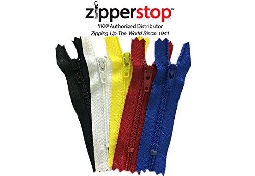 zipperstop all' ingrosso-Multicolor YKK® # 3nylon Coil Cerniere per abbigliamento e artigianato, 25pezzi Plus 4Neon Colori Made in USA, Black/Multicolor/Red/White/Yellow, LENGTH 4 INCH (10CM)