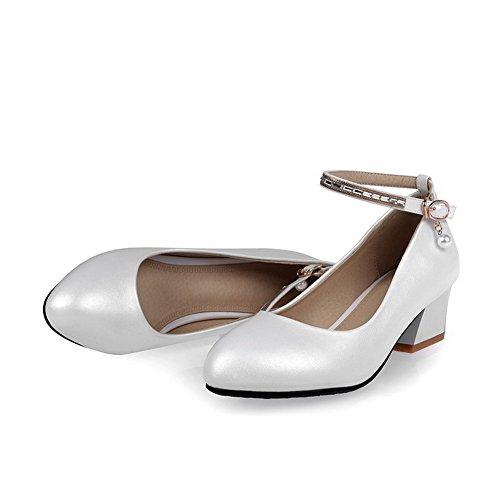 AllhqFashion Femme Microfibre Stylet Rond Couleur Unie Tire Chaussures Légeres Blanc