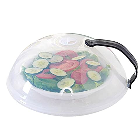 Microwave Sets, Bestow Multifunction Splatter Guard Microwave Hover Anti-Sputtering Cover Food Dish Cover With Handle (Black)
