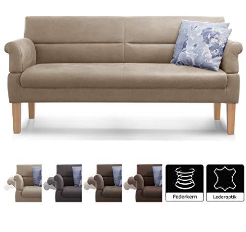 Küche Sitzbank (Cavadore 3-Sitzer Sofa Kira mit Federkern / Sitzbank für Küche, Esszimmer / Inkl. Armteilfunktion / 189 x 94 x 81 / Lederoptik beige)