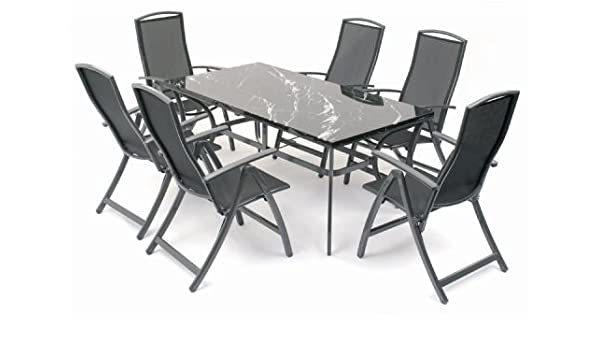 Provence 1 8m Black Marble Metal Garden Patio Furniture Set Table