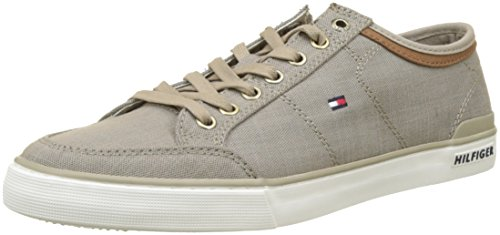 Tommy Hilfiger Herren Core Material Mix Sneaker, Beige (Cobblestone 068), 44 EU