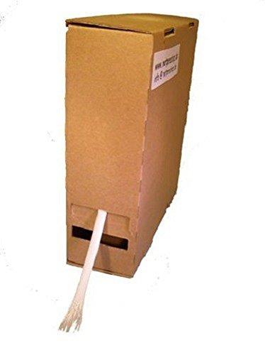 Preisvergleich Produktbild 20m Glasseidenschlauch 12mm weiss roh (unbeschichtet) DIN40620 Spenderbox Minibox