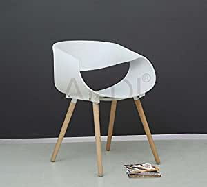 lakdi white moulded pp compound cafe chair comes with rubber wood