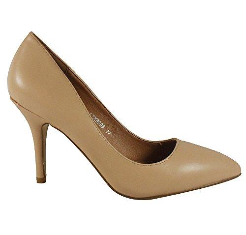 Loudlook Nouvelles Femmes Dames Haut Talon Aiguille Pointy Parti Going Out Chaussures De Travail Taille 3-8 Beige Pu