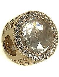 Pandora Damen-Charm Goldener Strahlenkranz der Herzen 585 Weißgold Zirkonia weiß-750843CZ