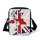 ZKHTO Union Jack,Faded United Kingdom Flag and Country Map Composition Nations Symbols,Violet Blue Red White Print Kids Crossbody Messenger Bag Purse