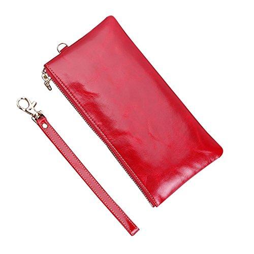 Genda 2Archer Pelle Moda borsetta Frizione Cell Phone Cash Coin Purse con cinturino da polso (Blu) Rosso