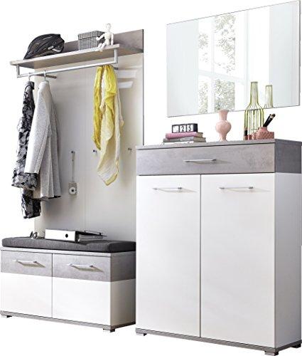 Germania 8646-531 GW-Topix Garderoben-Set, Holz, weiß  beton-optik, 40 x 200 x 198 cm