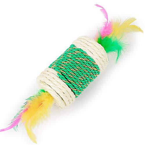 LovelyPet Haustier Spielzeug Sisal Candy Roller Zähne, Krallen, lustige Katze Spielzeug Bunte Feder Perlen Katzenspielzeug (Color : Green)