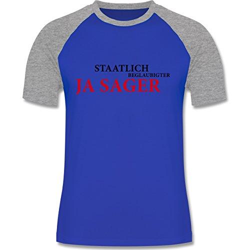 JGA Junggesellenabschied - Staatlich beglaubigter JA Sager - zweifarbiges Baseballshirt für Männer Royalblau/Grau meliert