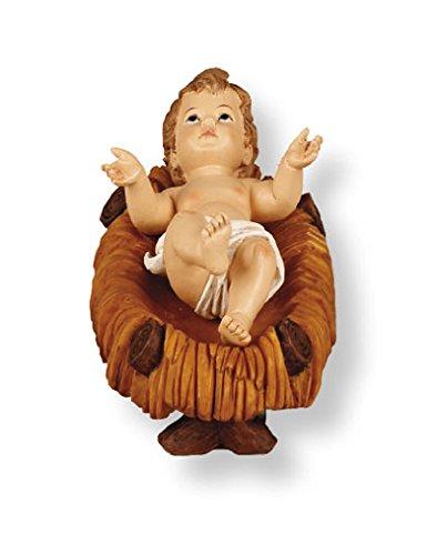 Weihnachten Baby Jesus und Krippe Set/Kind in eine Krippe 11,4cm handgemalt Kunstharz Weihnachten Geschenk männlich weiblich