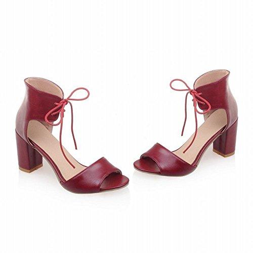 ... Mee Shoes Damen modern süß elegant Knöchelriemchen Schnürung open toe  dicker Absatz adjustable strap Sandalen Weinrot ...
