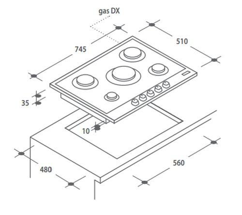 Candy CPG75SWPX Integrado Encimera de gas Acero inoxidable hobs - Placa (Integrado,...