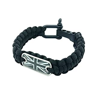 Union Jack Flag Paracord Survival Bracelet High Tensile Cobra Weave With Adjustable Bow Shackle By aarrows & Co (Stealth Black)