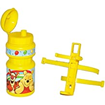 Fahrradtrinkflasche Winnie the Pooh mit Halterung - Halter Fahrradflasche Trinkflasche für Kinder Fahrrad Roller Dreirad