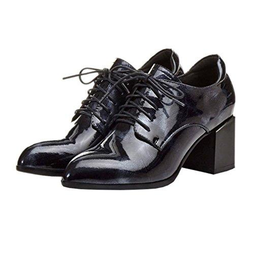 ENMAYER Femmes en cuir verni Talons carrés Chaussures à lacets pointues Chaussures Femme Printemps Automne Robe décontractée solide Chaussures peu profondes Noir