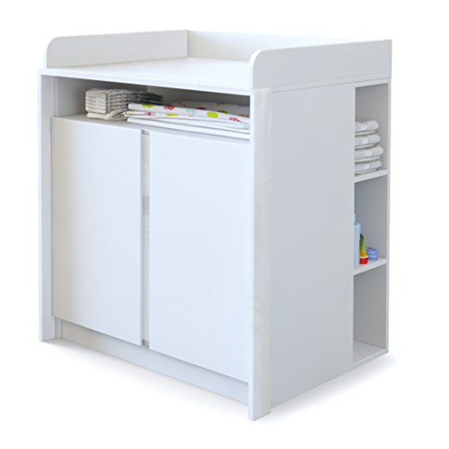 Baby Changing Table Station Nandini with shelf, Carcass in White matt, Skirtings in White High Gloss  Vladon